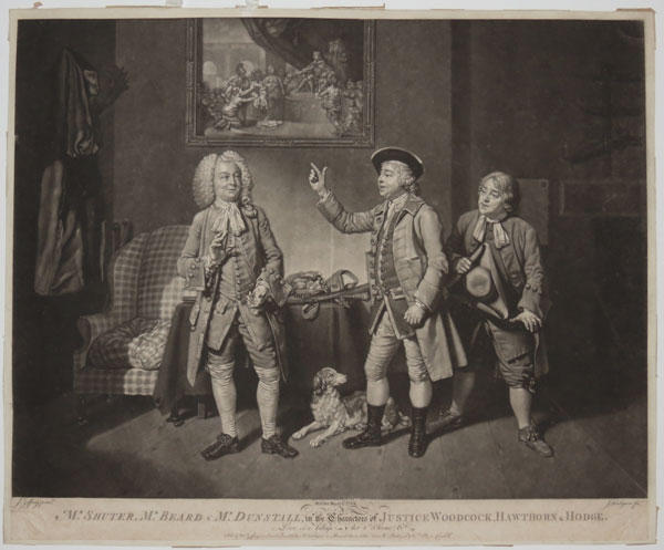 Mr. Shuter, Mr. Beard & Mr. Dunstall, in the characters of Justice Woodcock, Hawthorn & Hodge. Love in a Village_Act 1st. Scene, 6.th.