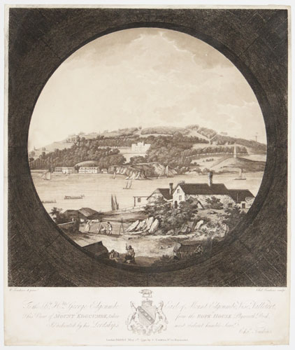[View of Mount Edgcumbe taken from the Rope House Plymouth Dock]