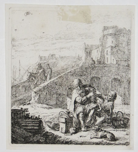 [Two travellers and a dog resting by a bridge, an Italianate town behind.]