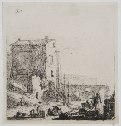 [A river with goods vessels being unloaded, an Italianate building and bridge behind.]