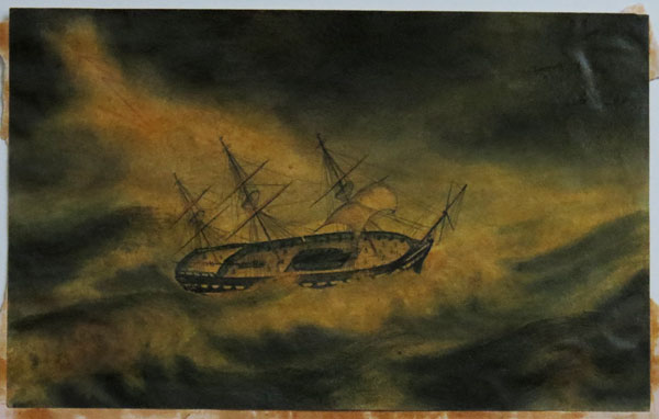 [HMS Java rounding the Cape of Good Hope in a storm, September 1826.]