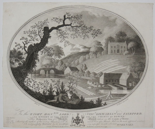 To the Right Hon.ble Lord Visc.t Kilwarlin and Fairford, and Knight of the Shire for the County of Downe; This Perspective View of a Bleach Green taken in the County of Downe, Shewing the methods of Wet & Dry Bleaching, and the outside View of Bleach