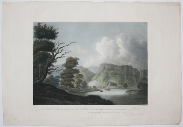 To Walter Fawkes Esqr of Farnley Hall Yorkshire, this View of Abbey Crag, on the River Forth near Stirling; is most respectfully Inscribed by his Obedient Humble Servant, Rob.t And.w Riddell.