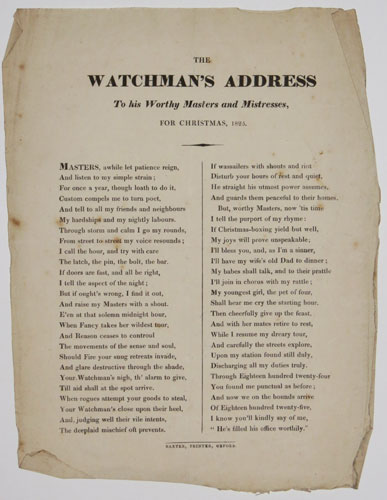 The Watchman's Address. To his Worthy Masters and Mistresses, For Christmas, 1825.