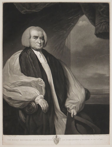 The Right Reverend John Warren, D.D. Late Lord Bishop of Bangor. Ob: Jan:ry 27:th 1800.