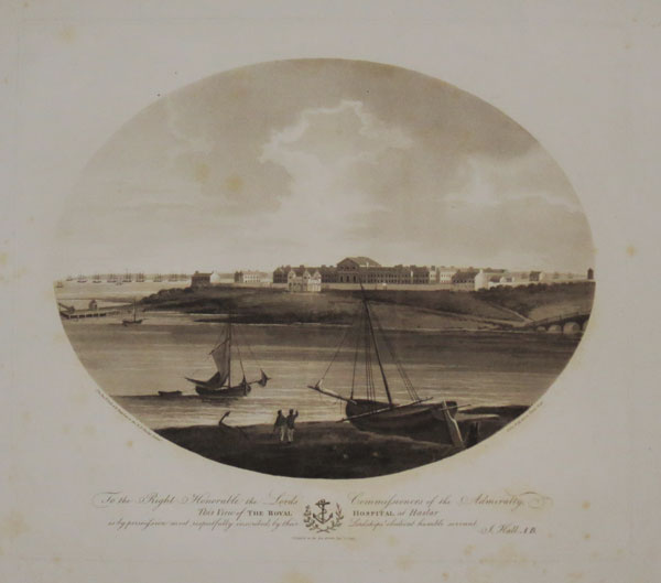To the Right Honorable the Lords Commissioners of the Admiralty, This View of the Royal Hospital at Haslar is by permission most respectfully inscribed by their Lordships' obedient humble servant, J.Hall A.B.