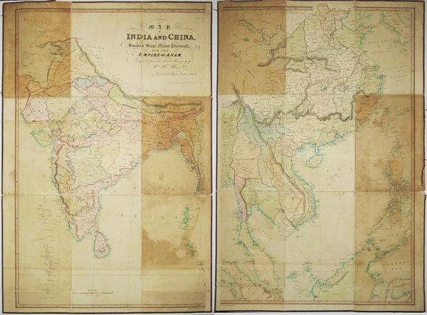 Map of India and China , Burmah, Siam, Malay, Peninsula and the Empire of Anam,