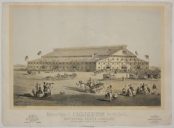 Exterior View of Coliseum for the Grand National Peace Jubilee. Boston Mass. June 15.-16.-17.-18.-19.-th. 1869.