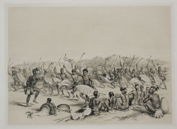 [Zulu Hunting Dance Near the Engooi Mountians.]