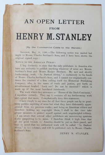 An Open Letter from Henry M. Stanley.