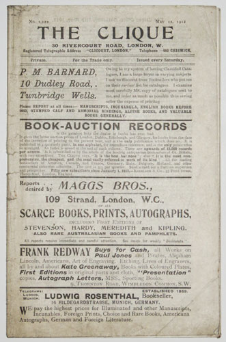 The Clique. No. 1,122. Private. For the Trade Only. Issued every Saturday. P.M. Barnard, 10 Dudley Road,. Tunbridge Wells. Owing to my system of issuing Classified Catalogues, I am a large buyer in various subjects I am ask no discount from the