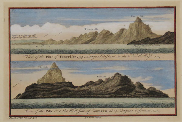 View of the Pike of Teneriffe, 34 Leagues distant to the North West. View of the Pike over the West Side of Gomera, at 15 Leagues distance.