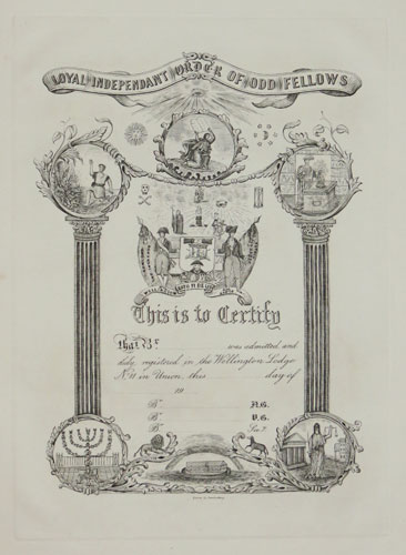 [Certificate] Loyal Independant Order of Odd Fellows.