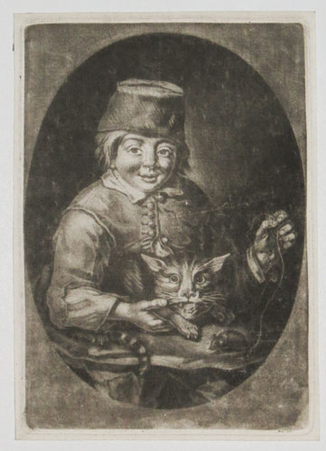 [Boy with a cat and mouse.]