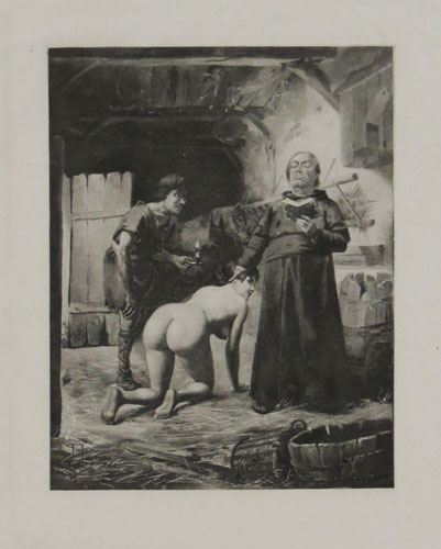 [A naked woman receiving communion from a priest, a scene from Giovanni Boccaccio's 'Decameron']