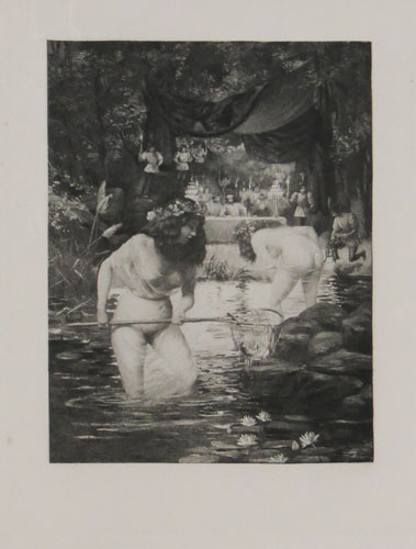 [Half-naked women fishing in a lily pond, a scene from Giovanni Boccaccio's 'Decameron']