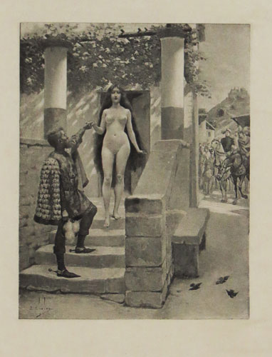 [A naked woman escorted down stairs from a house, a scene from Giovanni Boccaccio's 'Decameron']