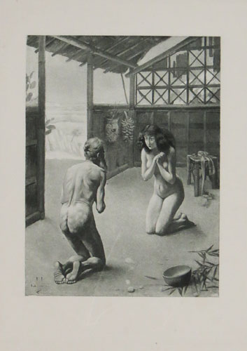 [A naked woman kneeling before a naked old man, a scene from Giovanni Boccaccio's 'Decameron']