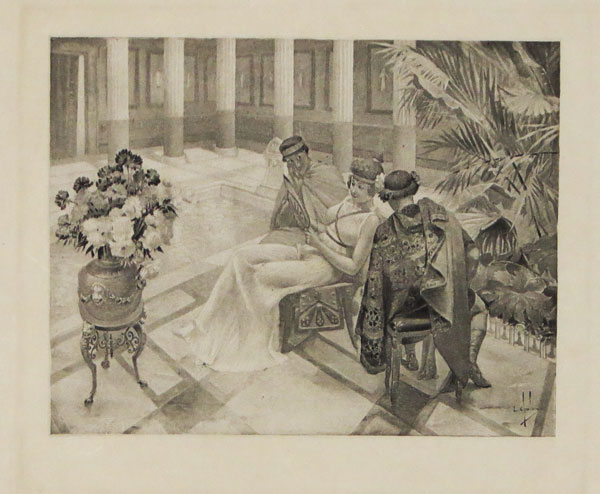 [Three people seated by a colonnaded pool, a scene from Giovanni Boccaccio's 'Decameron']