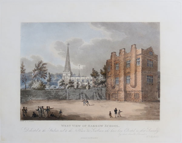 East View of Harrow School. Dedicated by Permission to the Governors of that Institution. [&] West View of Harrow School.