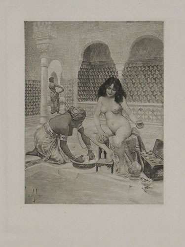 [A naked washing herself with a sponge, aided by a dark-skinned slave girl, a scene from Giovanni Boccaccio's 'Decameron']