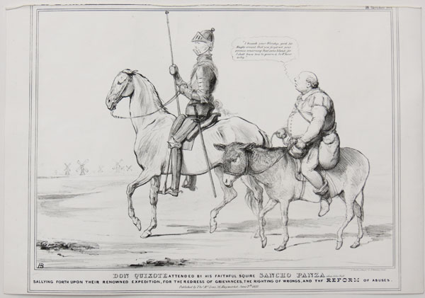 Don Quixote attended by his faithful squire Sancho Panza alias John Bull.