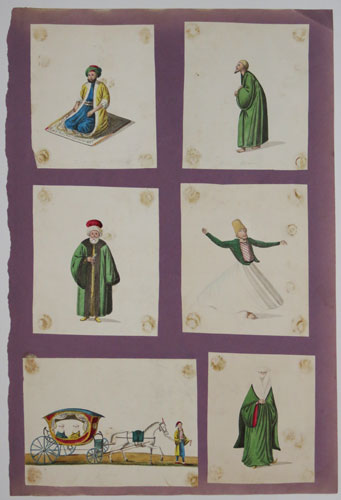 [Six watercolours of Turkish costumes.]