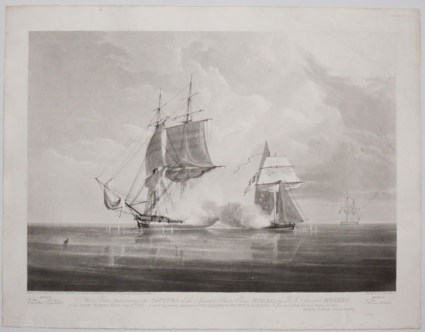 This plate representing the capture of the Spanish Slave Brig, Midas, by H. M. Schooner Monkey on the Great Bahama Bank June 27th 1829.