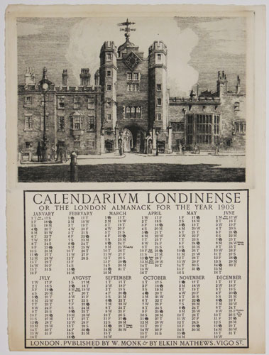 Calendarium Londinense or the London Almanack for the Year 1903. [St James's Palace.]