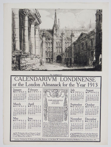 Calendarium Londinense or the London Almanack for the Year 1913. The Guildhall, E.C.