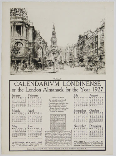 Calendarium Londinense or the London Almanack for the Year 1927. The Strand.