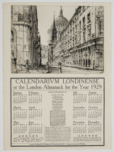Calendarium Londinense or the London Almanack for the Year 1929. Old Watling Way, Sunday in the City.