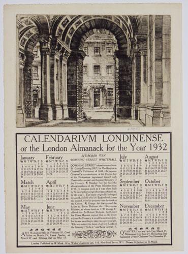 Calendarium Londinense or the London Almanack for the Year 1932. Number 10 Downing Street Whitehall.