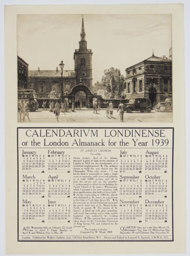 Calendarium Londinense or the London Almanack for the Year 1939. St James's Church, Piccadilly.