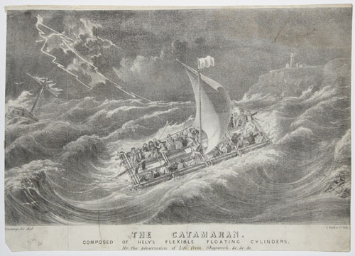 The Catamaran.  Composed Of Hely's Flexible Floating Cylinders,  For the preservation of Life from Shipwreck, &c.&c.&c.