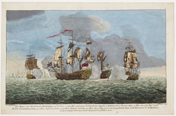 The Brave Cap.t Tyrrill in the Buckingham of 66 Guns & 472 Men, defeating the Florissant, Aigrette, & Atalante, three French Ships of War, the 3rd of Nov.r 1758 [...]