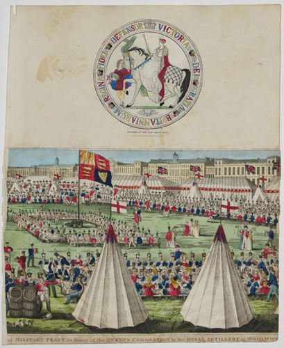 [The grand] Military Feast in Honor of the Queen's Coronation to the Royal Artillery at Woolwich [July 5th 1838]