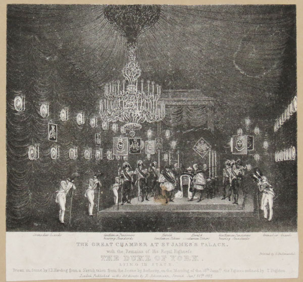 The Great Chamber at St. James's Palace. with the Remains of His Royal Highness The Duke of York. Lying in State.