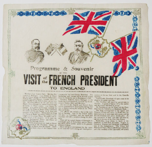 Programme & Souvenir of the Visit of the French President to England.