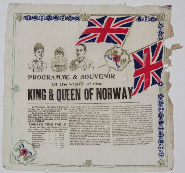 Programme & Souvenir Of the Visit of the King & Queen of Norway.