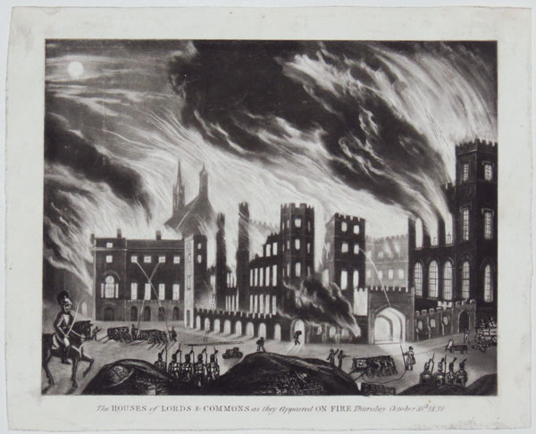 The Houses of Lords & Commons as they appeared On Fire Thursday October 16.th 1834.