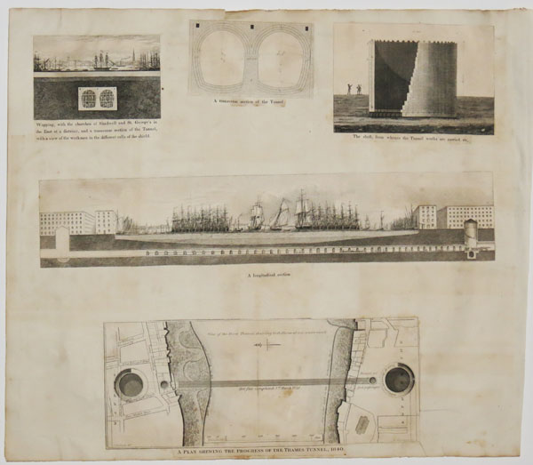 [The Thames Tunnel: 10 illustrations from 'Memoranda and views relating to the tunnel now excavating under the Thames, from Rotherhithe to Wapping'.]