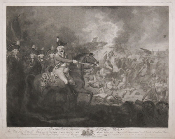This Print of the Memorable Attack upon the French Camp on the Hills of Famars near Valenciennes by the Hanoverian Corp de Garde & Combined Armies under the Command of His Royal Highness on the 23d of May 1793;