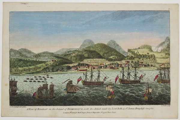 A View of Roseau in the Island of Dominique, with the Attack made by Lord Rollo, & Sr. James Douglas in 1760.  10.