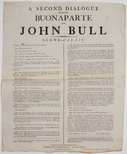 A Second Dialogue between Buonaparte and John Bull / Scene---Calais