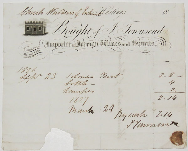 [Wine merchants.] Bought of F. Townsend, Importer of Foreign Wines and Spirits. Hastings.
