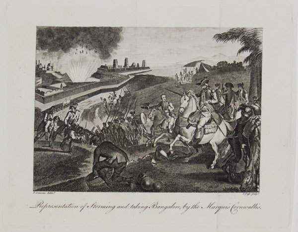 Representation of Storming and taking Bangalore, by the Marquis Cornwallis.