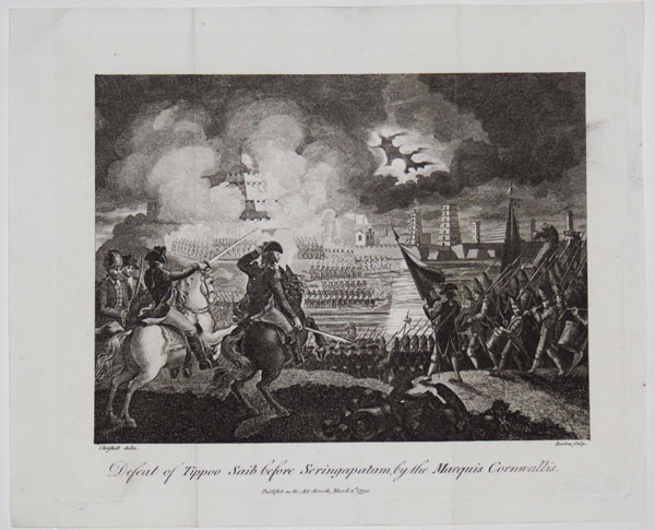 Deafeat of Tippoo Saib before Seringapatam, by the Marquis Cornwallis.