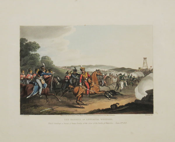 The Marquis of Angelsea Wounded, Whilst heading a charge of heavy Cavalry at the close of the Battle of Waterloo. June 18.th. 1815.
