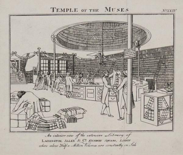 Temple of the Muses. An interior view of the extensive Library of Lackington, Allen & Co. Finsbury Square, London
